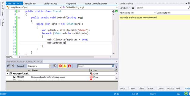 Code analysis no issues found